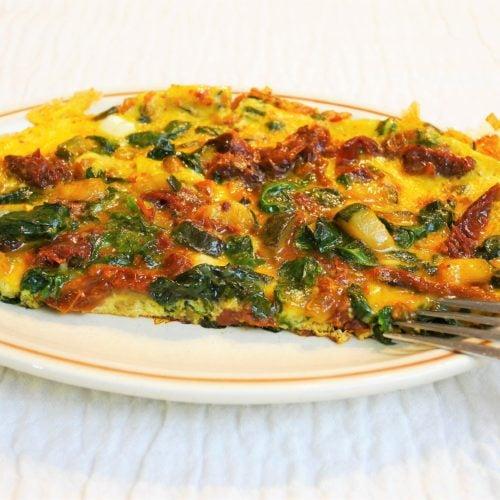 Omelette aux épinards et tomates séchées