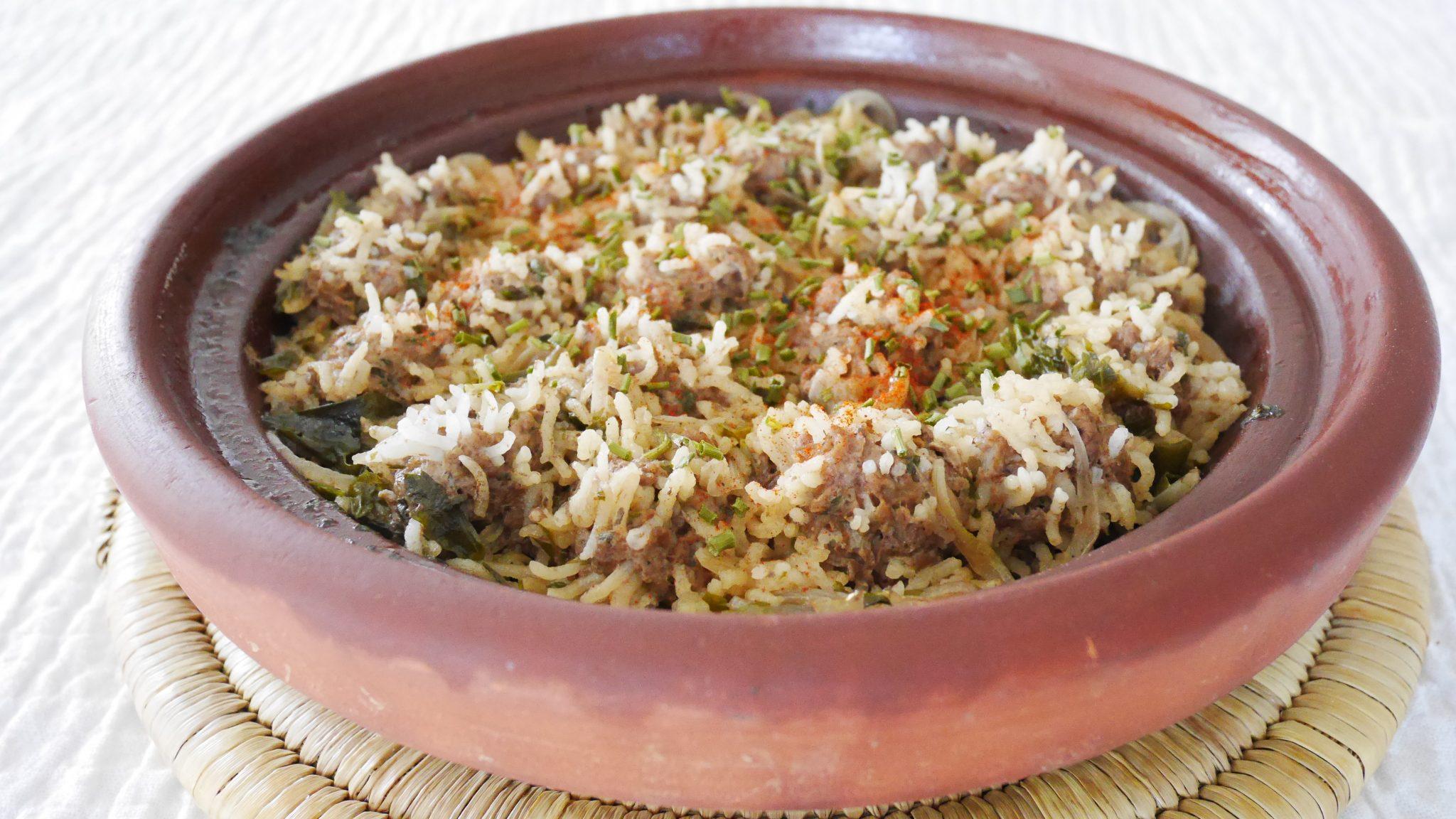Tajine de boulette de viande au riz