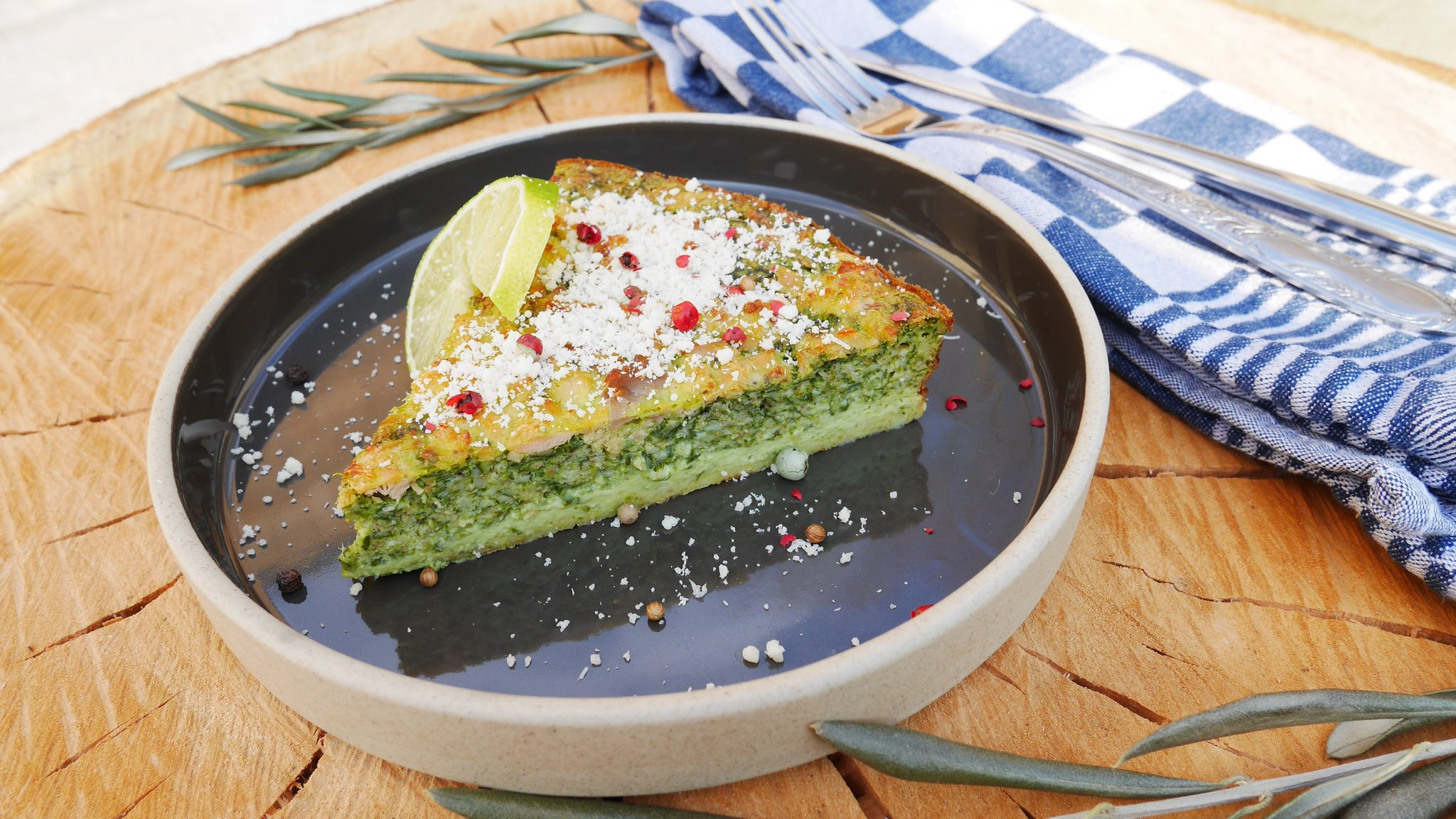 Tarte sans pâte saumon épinard