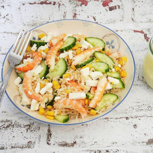 Salade aux deux riz et crevettes