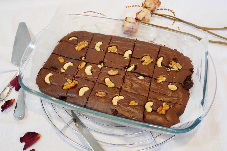 Brownie sans sucre ajouté avec un indice glycémique bas et sans gluten