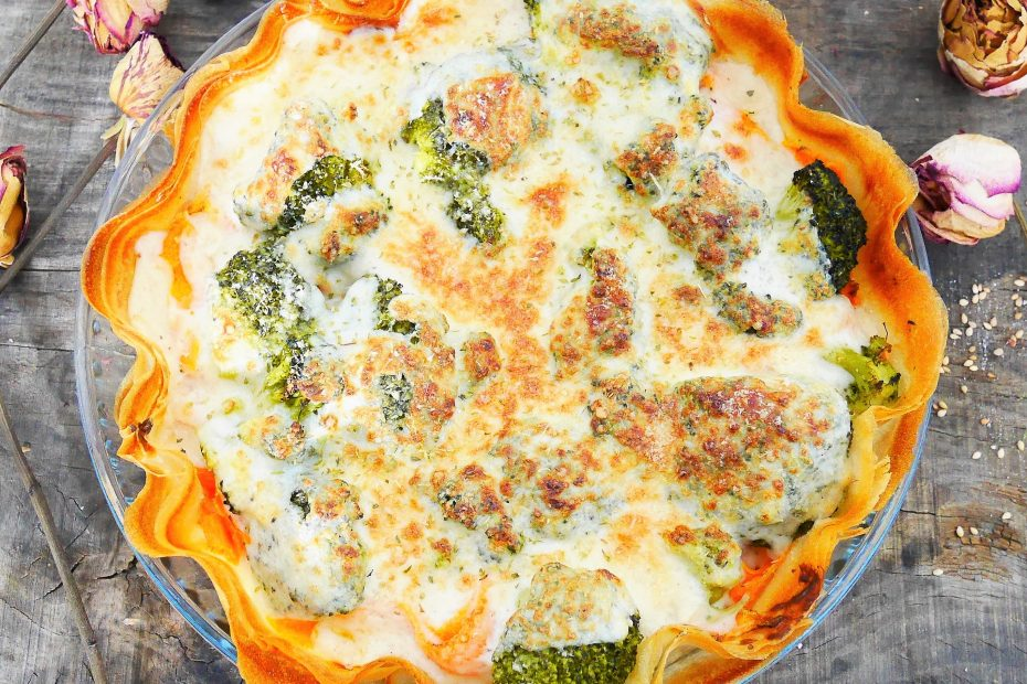 Tarte aux légumes sans pâte avec des feuilles de brick