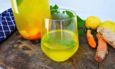 Boisson énergisante à base de curcuma, gingembre et citron
