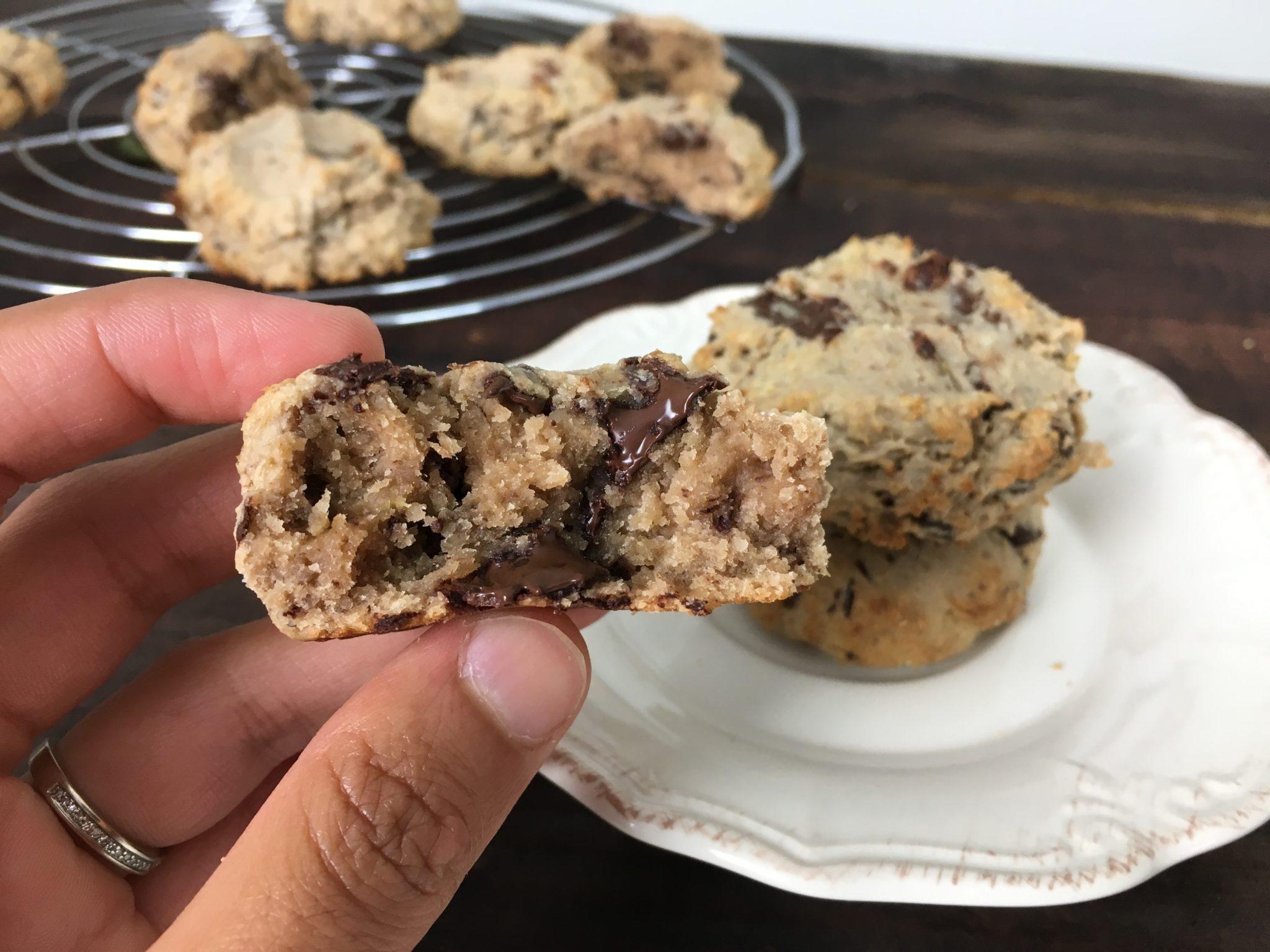 Cookies au chocolat banane sans sucre ajouté et sans gluten
