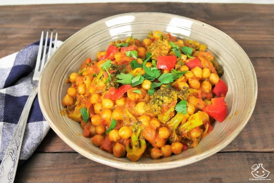 Recette de batch cooking, curry de pois chiche