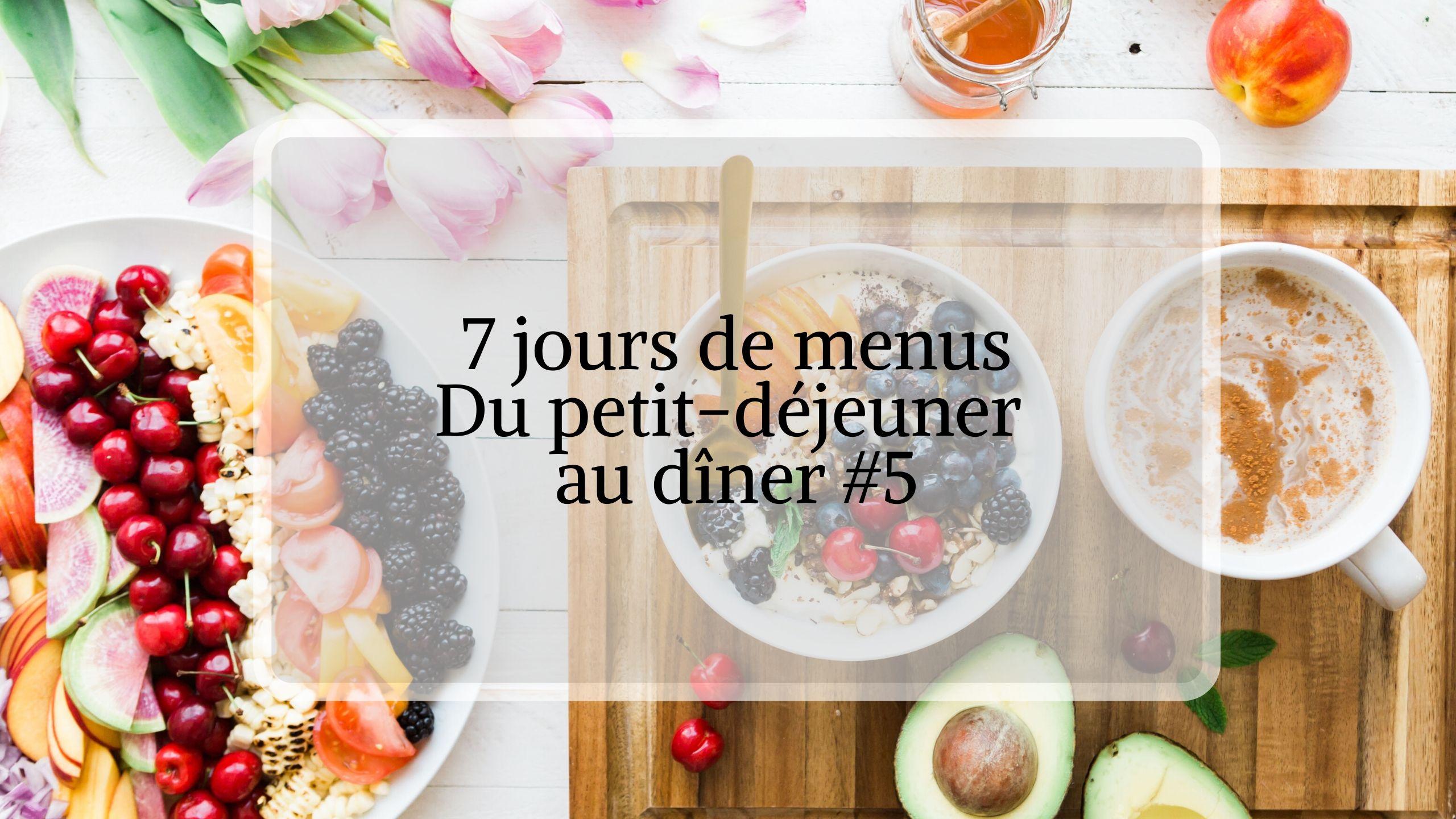 SEMAINIER MENU : Organisation repas pour la semaine