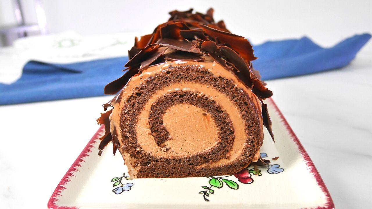 Bûche de Noël originale roulée au chocolat