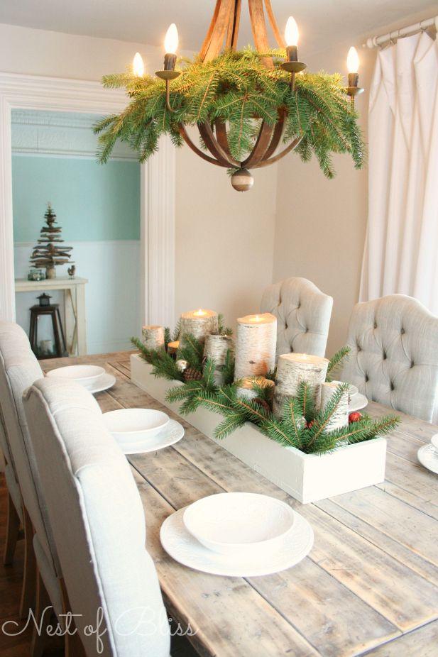 Déco de table de noel naturel et minimaliste