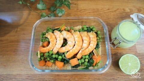 Batch cooking lunch box crevette sautés