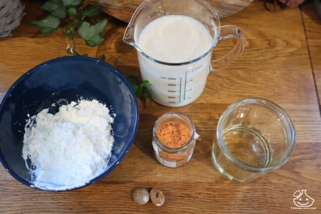 Ingrédients sauce béchamel sans lactose