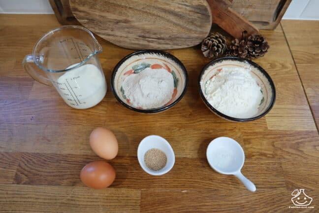Ingrédients pour pâte à blini