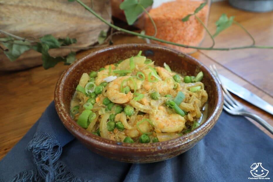 Curry vert de crevettes au combava